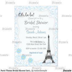 Paris Theme Bridal Shower Invitation Blue