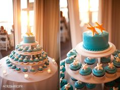 Beach wedding cupcakes? Of course a darker blue to match