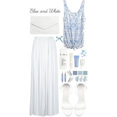 """""""Blue and White"""" by erino9519 on Polyvore"""