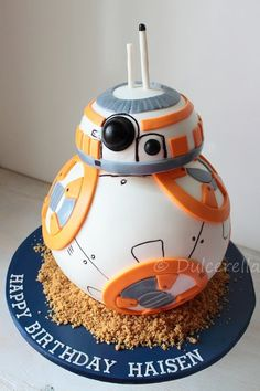 https://flic.kr/p/HEbZkm | Star Wars BB8 Cake | Layers of double chocolate cake with white chocolate cream cheese buttercream and fresh raspberries, handcarved