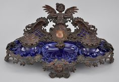 A French Baroque Style Cobalt Porcelain and Patinated Bronze Double Inkwell Standish, ca. 19th Century