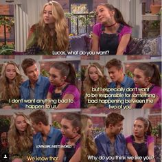"""#GirlMeetsWorld """"Girl Meets Legacy"""" ( I love how Lucas is concerned about hurting their friendship, but most importantly Riley and Maya's friendship)"""
