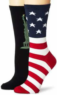 fba40cee3 Amazon.com  K. Bell Women s 2 Pack Statue of Liberty and Flag Crew Socks