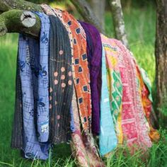 For centuries, rural women in West Bengal stitched together scraps of cloth to create stunning quilts to keep their families warm. It is believed that old cloth can protect the user, so each embroidered kantha quilt is a work of creativity and love. Hijab Style, Textiles, Kantha Quilt, Dot And Bo, Kantha Stitch, Bohemian Style, Modern Bohemian, Sewing, My Style