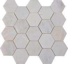 Greecian White Hexagon 12 Inch x 12 Inch x 10  mm Polished Marble Mesh-Mounted Mosaic Tile (10 Sq.Feet./Case)