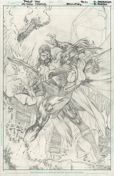 ACTION COMICS #21 PAGE 1 SPLASH ORIGINAL COMIC ART - 2013 - W.B.