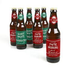 Red And Green Holiday - Holiday Personalized Beer Bottle Label Stickers | BigDotOfHappiness.com