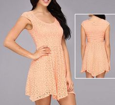 CUTE Peach Orange Skater Dress Lace Fit n Flare Casual Short Sundress M L NWT #ONeill #FitNFlare #Fashion