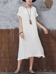 Only US$9.99 , shop Casual Women Cotton Linen Dress Vintage Short Sleeve Pockets Dresses at Banggood.com. Buy fashion Casual Dresses online.