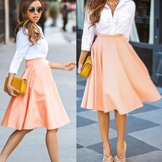 Pink Plain Draped High Waisted Bow Pleated Retro Flared Full A Line Party Midi Skirt - Skirts - Bottoms