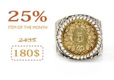 Silver Coin Ring Mens Ring Coin of India Mens Gifts by NoaTam