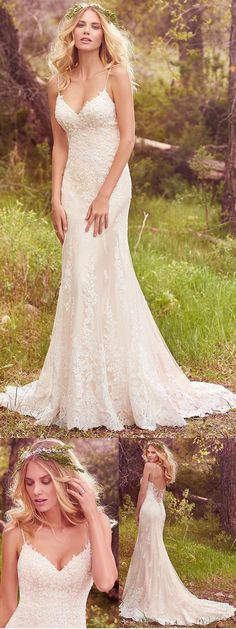 Charming Tulle & Satin Spaghetti Straps Sheath Wedding Dresses With Beaded Lace Appliques