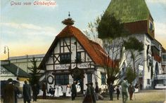 A vintage postcard view from Oktoberfest in Munich showing the Fischer Vroni stand with fish on a stick. You can still get these at Oktoberfest today.