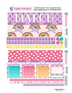 Free Printable March Monthly Planner Stickers for the EC, HP, Mini Hp, Recollections, and B6, Also Notes Page