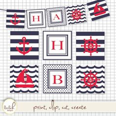 Printable Nautical Navy & Red Pennant Set   8 by lHdesigns5, $3.00