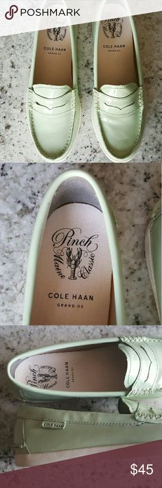 NWOB Cole Haan 'Pinch' Penny Loafers Brand spanking new and a little too small for me. These mint green cuties will keep you comfortable and stylish! Cole Haan Shoes Flats & Loafers