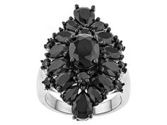 7.13ctw Oval, Pear Shape And Round Black Spinel Sterling Silver Ring