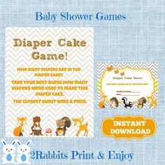 Woodland Baby Shower Diaper Cake Game Cards And Matching Sign   Forest  Animals How Many Diapers