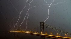 lightning striking the San Francisco-Oakland Bay Bridge