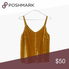 Madewell velvet button-down cami Beautiful holiday top! Second button hook from the top is torn but can be easily mended. Madewell Tops Camisoles