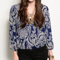 PRECIOUS SURPLICE NAVY AND CREAM TOP Adorable top in navy and cream. Elastic at hem and sleeves. Size small. Beautiful for work or dress it casual with jeans.  All sales final. True Light Tops