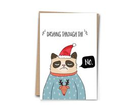 Christmas Card Grumpy Cat Funny Greetings Card A6 Holiday Card Christmas Greetings Card by PhoebeHigginson on Etsy https://www.etsy.com/listing/254677448/christmas-card-grumpy-cat-funny