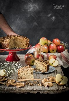 Apple cake topped with nut crumbles