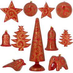 Red Paper Mache Ornaments Christmas Decor Set of 11 Items ShalinIndia