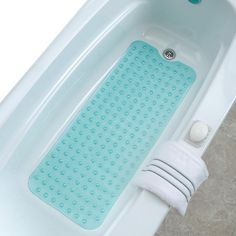 Phthalate Free Latex ALL FOR YOU Soft Anti-Slip Shower Tub Grass Massage Bath Mat -BPA Blue