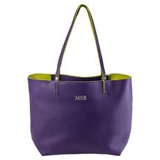 Personalized Purple Hampton Leather Travel Tote @studioNotes