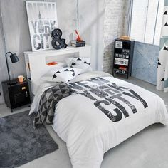 bettkopfteil Bed headboard made of wood, W 140 cm, gray Cool Bedrooms For Boys, Awesome Bedrooms, Teen Bedrooms, Boys Room Design, Small Room Design, Teen Bedroom Furniture, Bedroom Decor, New Room, Modern Bedroom