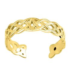 Yellow Gold Celtic Knot Weave Design Cuff Style Adjustable Toe Ring Treat your toes to a revamp with this beautiful Yellow Gold Celtic Knot Weave Celtic Knot Jewelry, Jewelry Knots, Cuff Jewelry, 14k Gold Jewelry, Fine Jewelry, Women Jewelry, Fashion Jewelry, Gold Toe Rings, Jewelry Collection