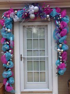 Christmas deco mesh garland colorful
