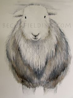 Limited edition print - Molly the Herdwick sheep, sheep print, Herdwick print Watercolor And Ink, Watercolor Paintings, Ink Paintings, Sheep Drawing, Runner Ducks, Sheep Crafts, Baby Painting, Cute Little Animals, Limited Edition Prints