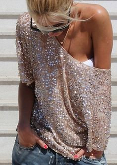 Off the shoulder and sparkly, yes please!  #sparkly #summer #off the shoulder