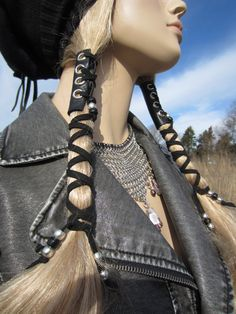 2 Corset Hair Wraps Black Leather Tie Beaded Ponytail Holder Hair Jewelry Extensions. $38.00, via Etsy.