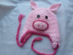 Pink Pig beanie with ear flaps by AngieMade on Etsy, $18.00