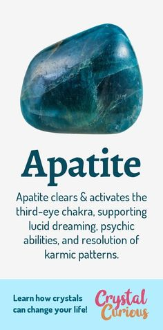 Apatite Meaning & Healing Properties. Apatite clears & activates the third-eye chakra, supporting lucid dreaming, psychic abilities, and resolution of karmic patterns. Learn about healing crystals for beginners and gemstones properties at CrystalCurious.com. Positive energy, chakra healing, vibrational energy, stone meanings, crystal therapy. #crystals #crystalhealing #newage #positiveenergy #gemstones #energyhealing #crystalcurious