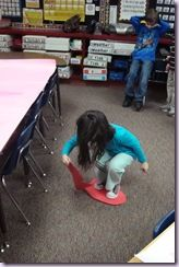 """A favorite game and not so quiet game….""""Heart Lava""""! They had to use two large hearts to move across the room without falling in the """"lava"""". A very fun racing game!"""