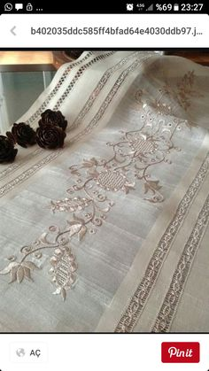 """Table runner with embroidery fit for a kings table; great heirloom piece """"Table runner with embroidery fit for a kings table; Hardanger Embroidery, Floral Embroidery, Embroidery Stitches, Embroidery Patterns, Hand Embroidery, Lace Table Runners, Drawn Thread, Linens And Lace, Machine Design"""