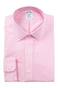 5ea32b8c Brooks Brothers Solid Trim Fit Dress Shirt Button Down Collar Shirts,  Mother Of Pearl Buttons