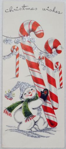 #1848 50s Mid Century Glittered Snowman & Candy Cane-Vtg Christmas Card-Greeting
