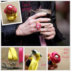 Ribbon Wrapped Ring DIY : DIY Fashion by Trinkets in Bloom  Another excuse for a trip to the hardware store