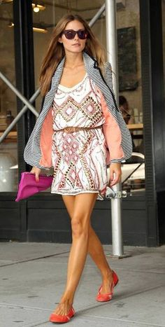 Olivia Palermo wearingWestward Leaning N9.9. Color Revolution Sunglasses in Neon Sunset Lovers + Friends x BECAUSE IM ADDICTED Addicted to Love Blazer in Stripe One Dress a Day Barcelona dress  New York City September 2013