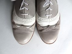 Grey and White Leather Oxford Wingtip Shoes Flats by RainbowRetro, $35.00