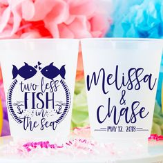 """These """"Two Less Fish in the Sea"""" wedding cups make the perfect addition to any wedding party decor! Custom designed and printed, personalized can coolers to help you Celebrate Happy even before your event starts. Wedding Cups, Wedding Favors For Guests, Personalized Cups, Personalized Wedding, Cruise Wedding, Spring Wedding, Sea Fish, Party Cups, Time To Celebrate"""