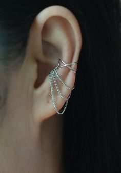 Cross X ear cuff with 3 Chains No Piercing Cartilage by TakeOnMe7