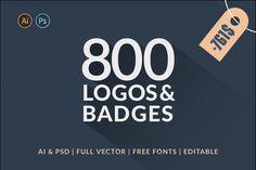 800 Logos & Badges SALE by Piotr Łapa on @creativemarket