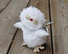 Unique and special gift idea for children, friends, and family.  Give a fluffy one of a kind handmade Baby Owl to someone you love to welcome