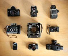 "What's in My Bag(s) (by kenny ip)  Nortia 66 w/ Noritar 80mm f/2  Yashica 124Gw/ Yahinon 80mm f/3.5  Kiev 88CM MLUw/ Arsat 80mm f/2.8  Polaroid Land Camera 450  Graflex Speed Graphicw/ Kodak Aero Ektar 7"" f/2.5  Minolta CLEw/ M-Rokkor 40mm f/2  Sekonic L-308S  Olympus OM-4Tw/ OM G.Zuiko 55mm f/1.2  Contax 645w/ Carl Zeiss Planar T* 80mm f/2"
